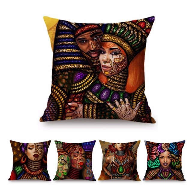 Colorful African Sofa Throw Pillow Case