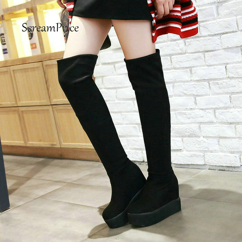 Woman Platform Height Increasing Slip On Flock Over The Knee Boots Winter Stretch Boots Fashion Ladies Thigh Boots Black Red