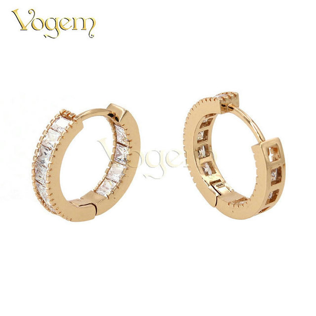 Vogem Small Circle Earrings Gold Silver Colors Cz Zirconia Round Huggies Baby Hoop For Women