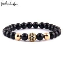 WML Luxury Men bead Bracelet Pave Black CZ Ball Charm Bracelets & Bangles for men Jewelry pulsera hombres
