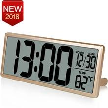 13.8″ Large Digital Wall Clock Jumbo Digital Alarm Clock Oversied LCD Display Alarm Snooze Calendar Indoor Temperature C/F