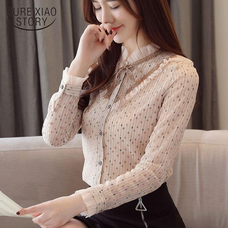 Mujer de Moda Ponto de Onda Blusas Camisas Gola Arco Tamanho Grande Blusa Tops Rendas Moda Feminina 1784 50 2020