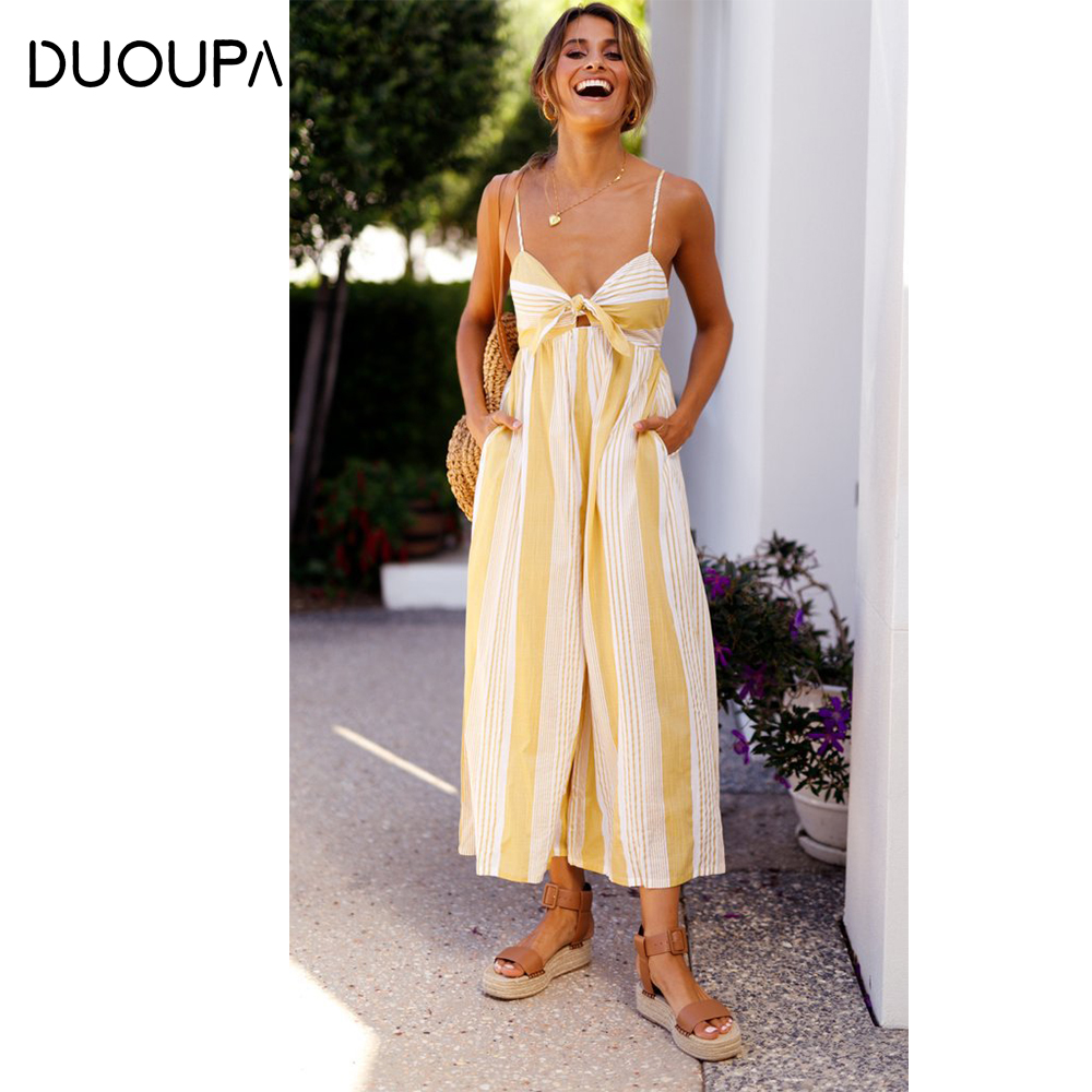 DUOUPA 2019 New Sling Sexy Striped Jumpsuit Womens Bohemian Beach Shorts Summer One-piece Harem Loose Leota