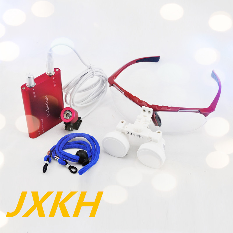 High Quality Red magnifying glass 2.5X420 Medical  Surgical loupes Dental Loupes medical loupes head loupes with LED light 100mw650nm cross red laser head high power red positioning marking instrument high quality