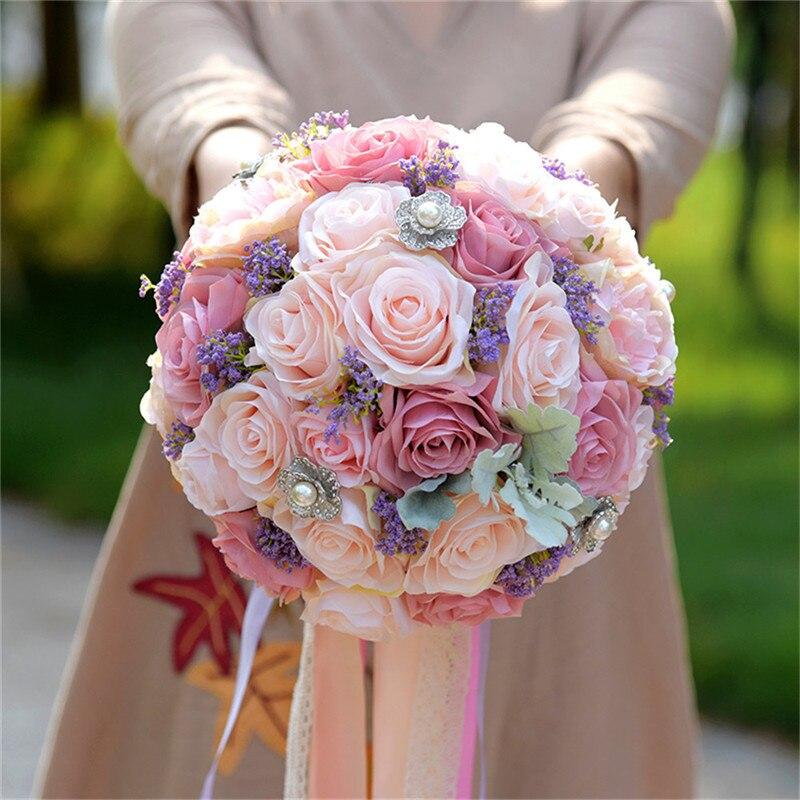 Fleurs de mariage gracieux Bouquet de mariée mariée demoiselle d'honneur Bouquet mariée mariage Bouquet mariée tenant des fleurs artificielles Roses