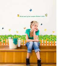 цена на SK7018 Grass waist baseboard living room wall stickers home decor small flowers butterfly waterproof removable stickers