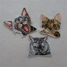 new style cat sew on Patches For Clothing Embroidery Patch Summer Fabric Badge Stickers For Clothes Jeans Decoration C5933-C5935(China)