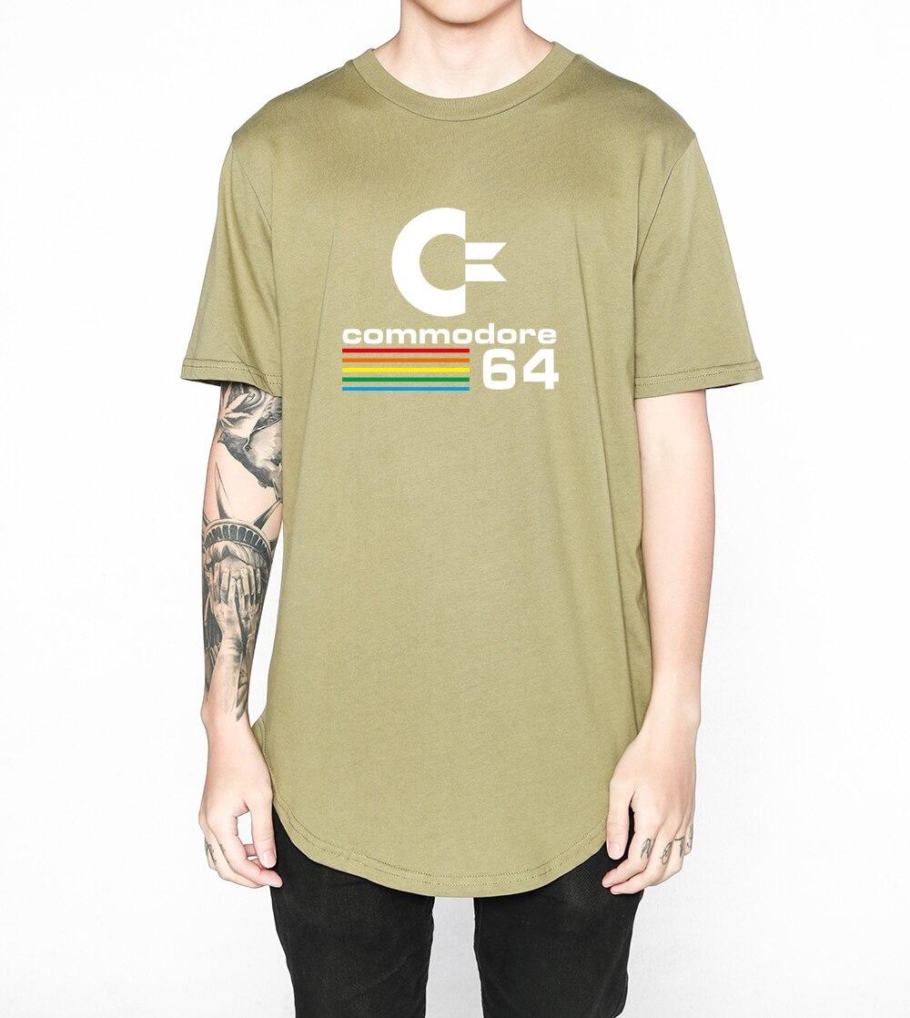 Kanye West футболка Расширенный круглый развертки футболка изогнутые подол Long Line Топы корректирующие хип-хоп городских пустой Commodore 64 печатных ...