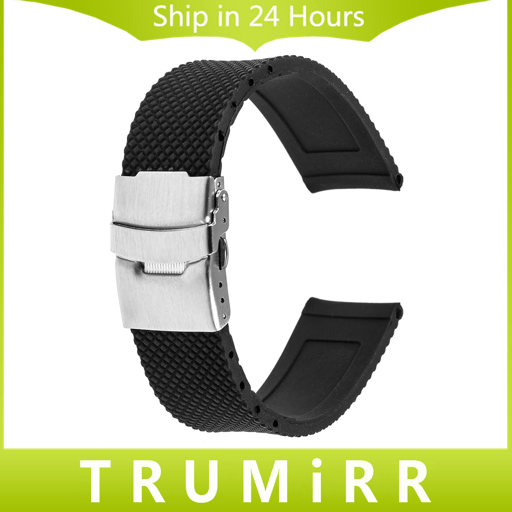 22mm Silicone Rubber Band Stainless Steel Buckle Strap Bracelet for Samsung Galaxy Gear 2 R380 R381