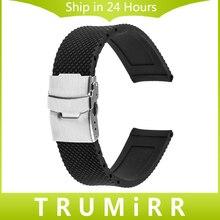 22mm Bande De Caoutchouc De Silicone En Acier Inoxydable Boucle Bracelet Bracelet pour Samsung Galaxy Gear 2 R380 R381 R382 Moto 360 2 46mm 2015