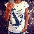 Verano Camiseta Ocasional de Las Mujeres de la Señora de Bolsillo de Impresión mujeres de la Camiseta del ancla del Barco vestido de la camiseta Superior femenina Camiseta mujer ropa tallas grandes