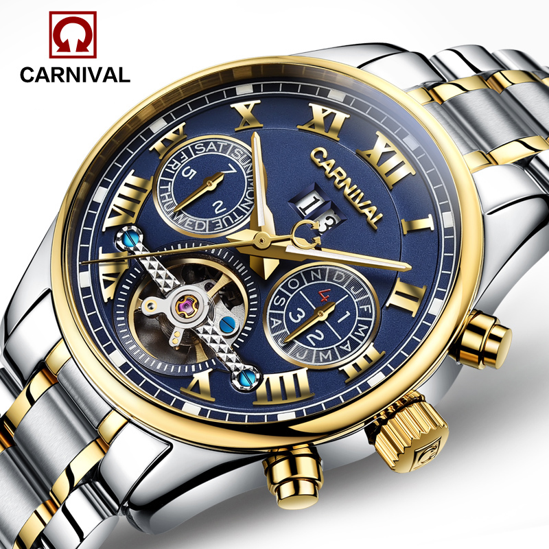Luxury Carnival tourbillon watch men silver stainless steel waterproof Automatic machine date wristwatch relogio masculine