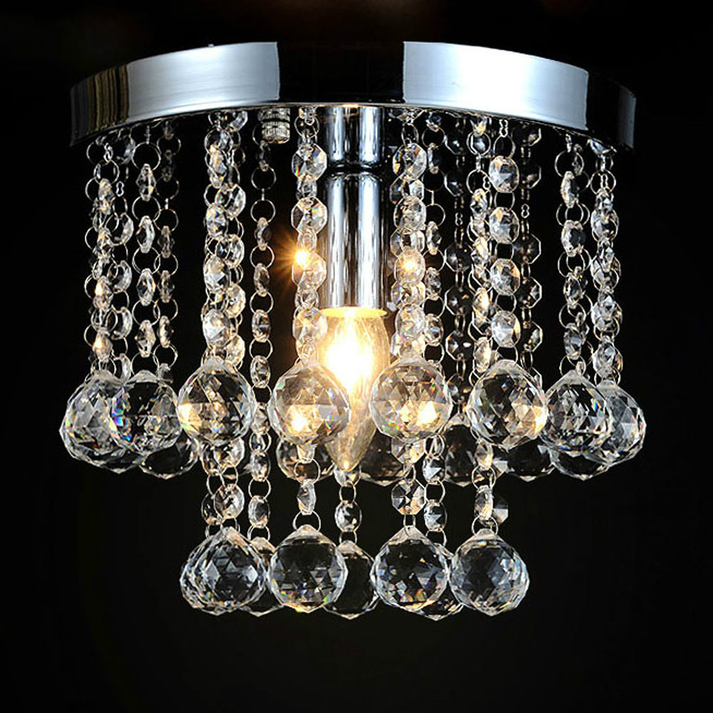 Mamei mamei freies verschiffen unterputz chrom finish mini moderne kristall deckenleuchte leuchten flur lampe d20cm