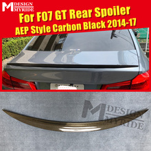 F07 GT Spoiler Real Carbon Fiber Wings P Style Black For BMW 5-series 535i 535iGT 535iGTXD 550GT Trunk 2014-2017