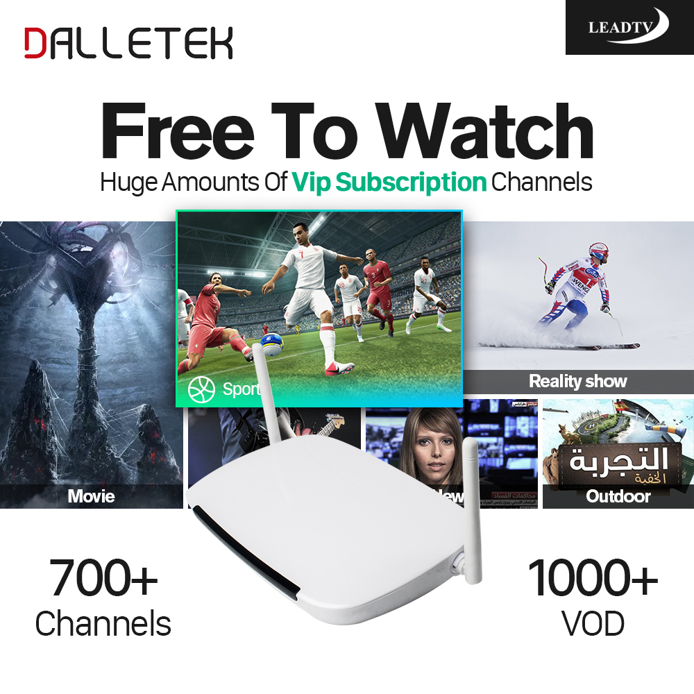 Dalletektv Android Iptv Set Top Box 1G+8G Media Player 1 Year 700 IPTV Europe Arabic French African Channels LEADTV APK Include x92 android iptv box s912 set top box 700 live arabic iptv europe french iptv subscription 1 year iptv account code