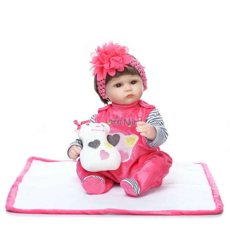 NPKCOLLECTION, muñeca Reborn de silicona de 40CM para niños, regalo de compañero de juego para niñas, muñeca viva, juguetes blandos para bebés Reborn, juguetes Brinquedo