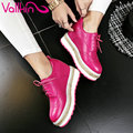 VALLKIN 2017 Lace Up Real Leather Shoes New Women Pumps Spring Autumn Shoes Wedges High Heel Round Toe Platform Pumps Size 34-39