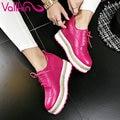 VALLKIN 2017 Lace Up Zapatos de Cuero Reales Bombas de Las Nuevas Mujeres de Primavera otoño Zapatos de Las Cuñas de Tacón Alto Plataforma Punta Redonda Bombas Tamaño 34-39