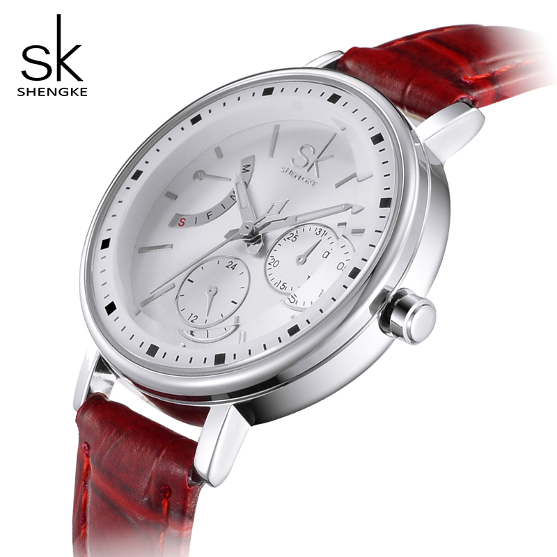 Shengke Fashion Watches Women Casual Leather Wrist Watch Luxury Quartz Watches Ladies Female Clock Relojes Mujer 2018 SK #K0005 купить
