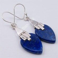 Solid Silver LAPIS LAZULI Flat Drop Antique Style BALLWIRE Earrings 4.6CM Variation