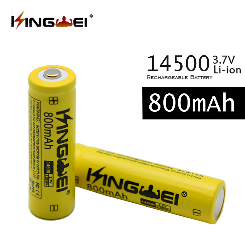 10pcs/lot kingwei 800mAh 3.7v 14500 AA Lithium Rechargeable Battery Batteries for Laser Pen Flashlight Electronic Accessories