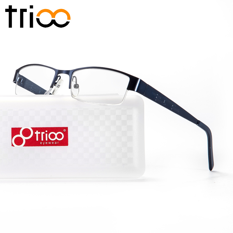 7094c01a57 TRIOO Prescription Glasses Men Myopia Reading Eyeglasses Square Metal Semi  Rimless Blue Frames Clear Lens Computer Eyewear Male-in Prescription Glasses  from ...
