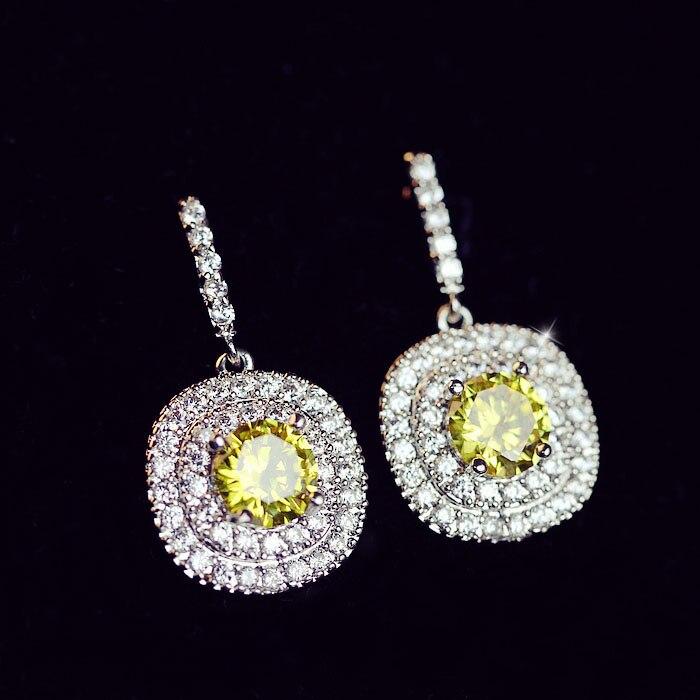 Luxury Fashion Big Square CZ diamond Dangle Earrings ...