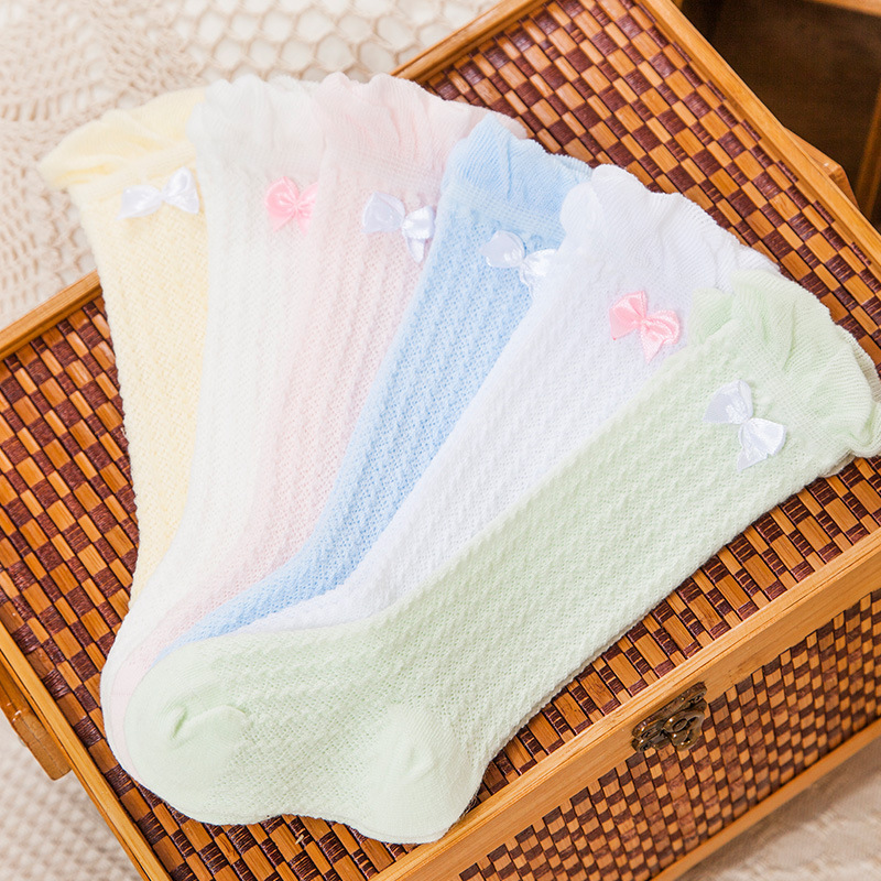 5pair/10pcs Breathable Summer Baby Bow Socks Knee High for Newborns Boys Girls Kids Infant Children`s Anti-mosquito Socks