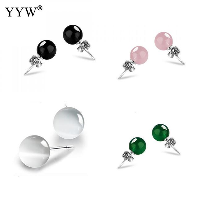 Natural Stone Ear Stud Earrings 100 925 Sterling Silver 8mm Round Ball Opal Agata Cats Eye For Woman