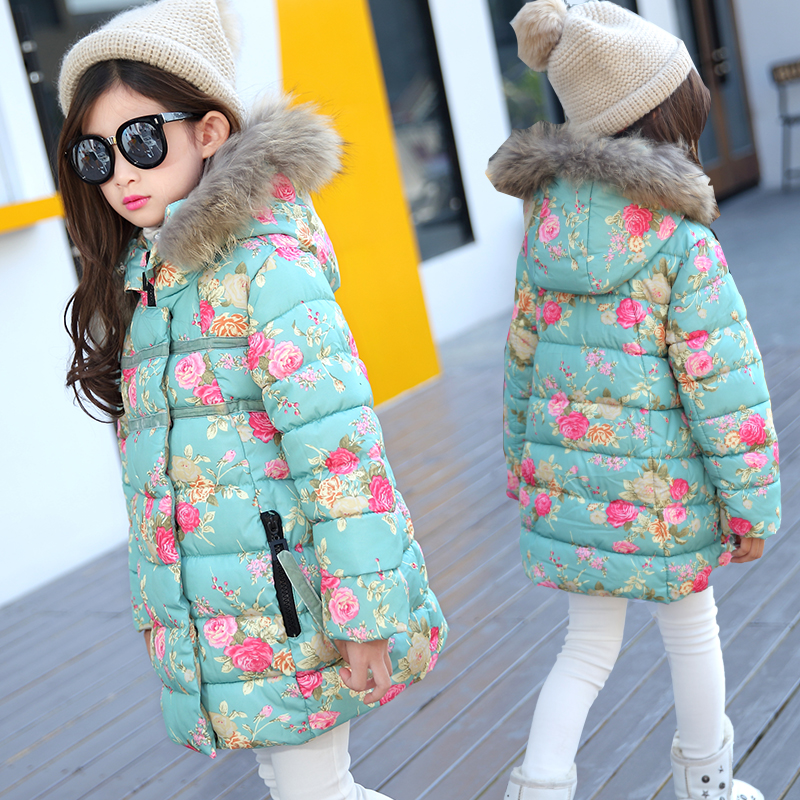 2017 New Girls Winter Coat Kids Jacket Hooded Children Clothing Kids Clothes Warm Parka Outerwear Snowsuit Overcoat 11 12 13 14