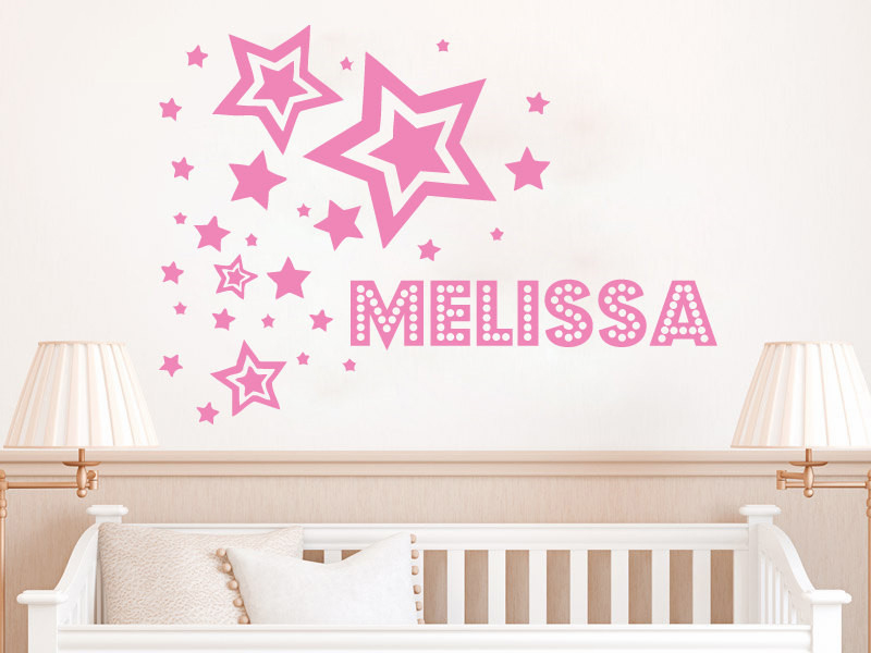 Stars Pattern Personalized Name Custom Name Room Decoration Girls Stars Wall Sticker Kids Baby Home Poster Mural Design W262 in Wall Stickers from Home Garden