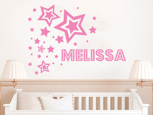 Stars Pattern Personalized Name Custom Room Decoration Girls Wall Sticker Kids Baby Home Poster Mural Design W262