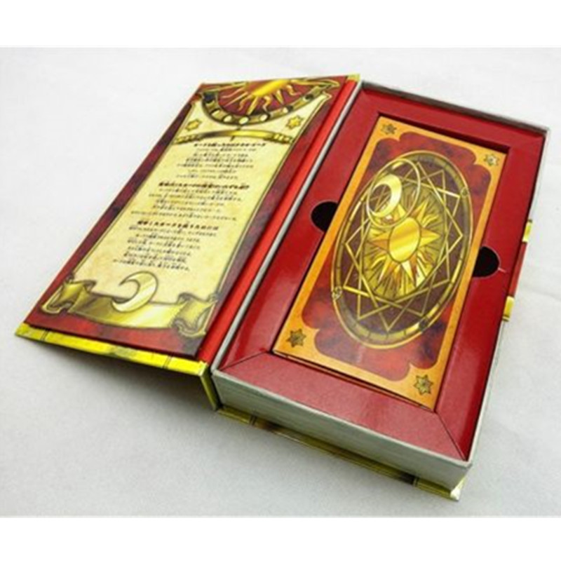 Japanese Hot Anime 56 Piece Cardcaptor Sakura Magic Clow Cards Set With Gold Clow Book Birthday Gift Toy Collection цена