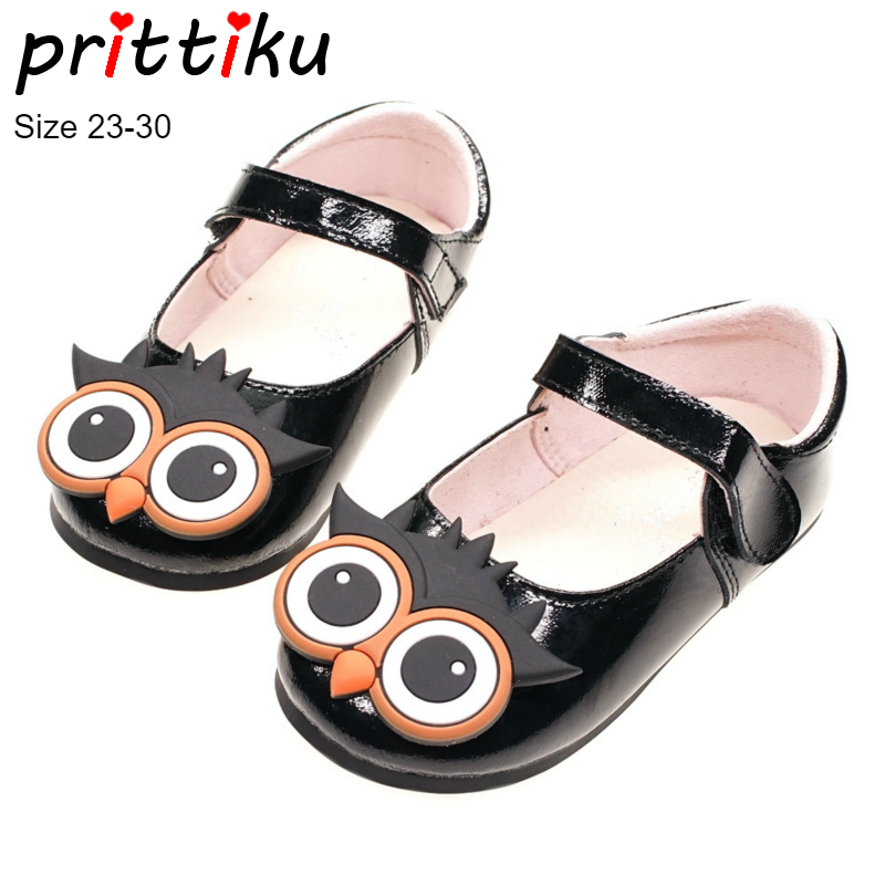 91cd49b64 Autumn 2018 Girls Patent Genuine Leather Cartoon Owl Flats Baby/Toddler/Little  Kid Mary