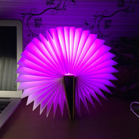 Trecaan Novelty Foldable Pages Led Book Shape Night Light Lighting Lamp Portable Booklight Usb For Decor