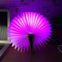 Trecaan Novelty Foldable Pages Led Book Shape Night Light Lighting Lamp Portable Booklight Usb For Decor