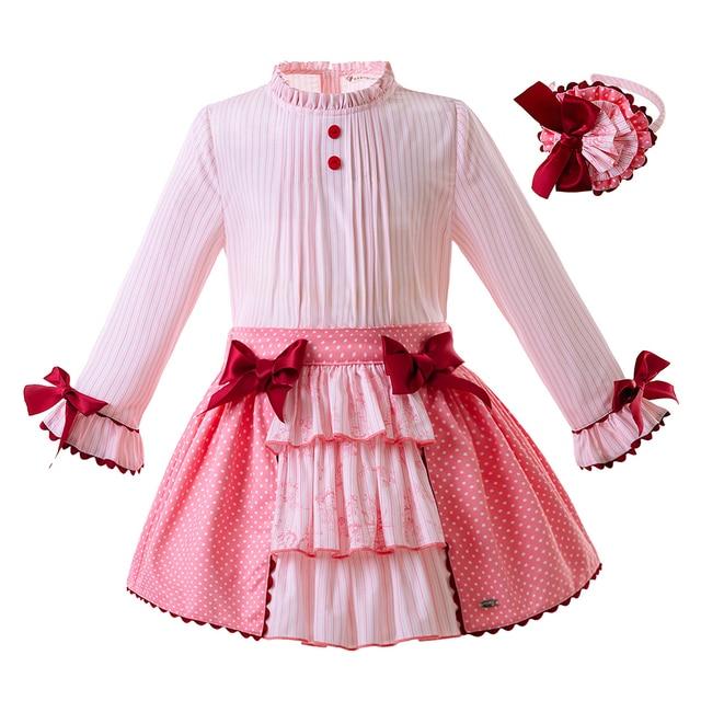 Pettigirl Mới Nhất Cô Gái Màu Hồng Bộ Quần Áo Với Cung Dài Tay Áo Top + Váy Giản Dị Boutique Quần Áo Trẻ Em G-DMCS107-A247