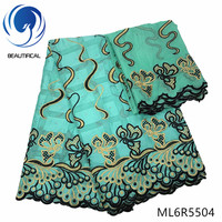 BEAUTIFICAL Cotton nigerian swiss fabrics High quality embroidery swiss voile lace fabric 7yards swiss lace stones fabric ML6R55