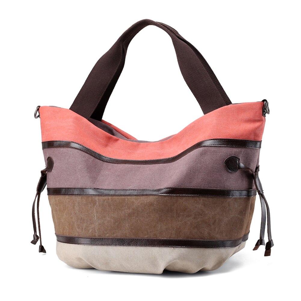 Frau Leinwand Schulter Tasche Handtaschen Klassische Multi-farbe Große Shopper Casual Tote Lxx9