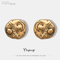 Yhpup New Vintage Retro Moon Sun Round Stud Earrings Zinc Alloy Exquisite Earrings For Women Party Jewelry Christmas Gifts