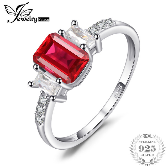 JewelryPalace Modern 4.4ct Emerald Cut Created Ruby & CZ Engagement Rings For Wo