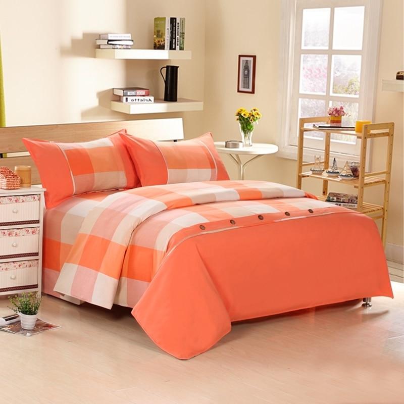 4 조각면 내구성 중국 스타일 격자 무늬 침구 세트 홈 섬유 침대 페이딩 (1 이불 커버 + 1 베드 시트 + 2 베개)