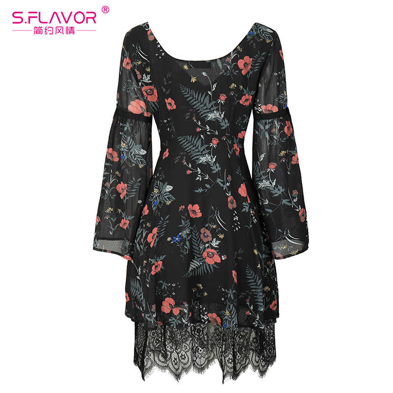 S, вкус Для женщин шифоновое кружевное лоскутное мини-платье горячая Распродажа 2017 года осень v-образным вырезом рукав «фонарик» Элегантный Vestidos сексуальное платье печати