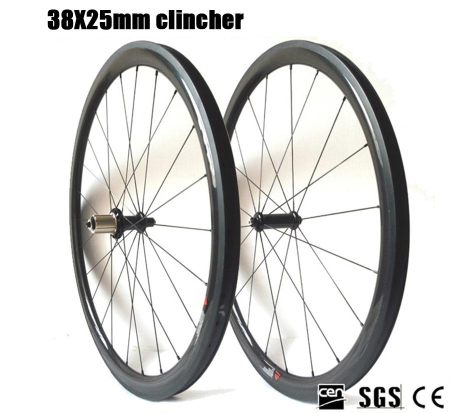 Carbon Fiber Wheelset 700C Road bike R36 Ceramic Bearing Hub 38mm Depth 25 Width clincher tubular Carbon Wheels chord bearing capacity in long span tubular trusses