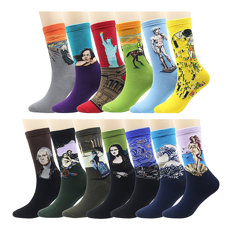 Starry Socks 3D Vintage Cotton Oil Painting Mona Lisa Van Gogh Creative Painting Gothic Street Men's And Women's Couples Socks