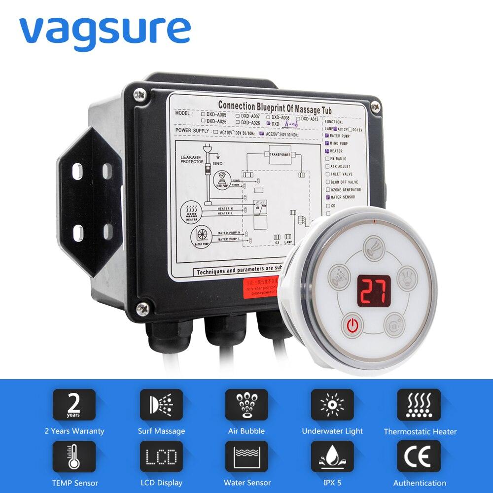 AC 110 V/220 V Rodada Painel de Controle Com Tela de LCD Digital CE Certificado Spa Banheira de Hidromassagem de Água Combo kits controlador