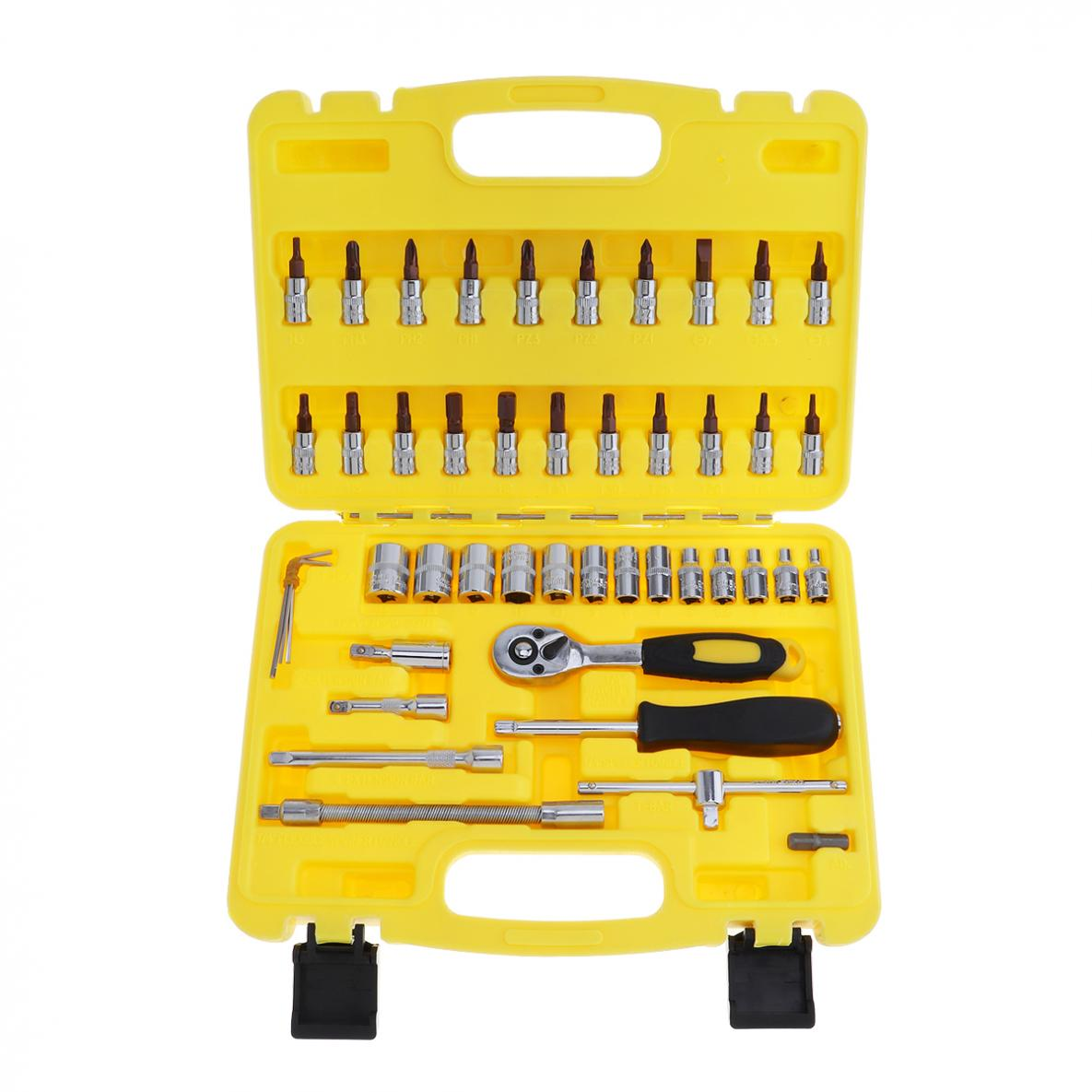 46pcs Repair Tool Box Precision 1/4 Sleeve Socket Wrench Set Ratchet Torque Wrench Combo Tool Kit for Motorcycle Auto Repairing
