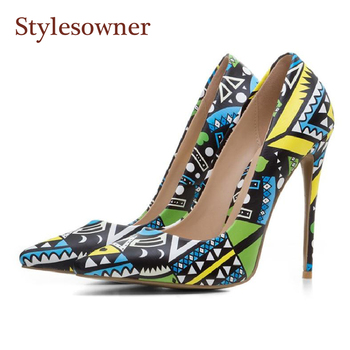 Stylesowner 12cm sexy lady pumps shoes graffiti color shallow mouth thin heel shoe pointed toe slip on flower sapatos mujer