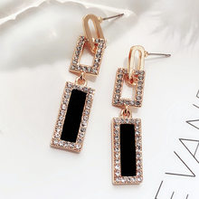 FYUAN 2018 Korean Style Geometric Rhinestone Drop Earrings Long Black Rectangle Dangle Earrings for Women Party Jewelry Gift(China)