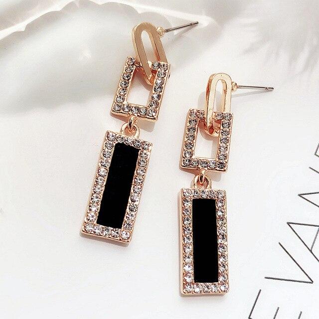 30888f60ed US $2.06 53% OFF FYUAN 2018 Korean Style Geometric Rhinestone Drop Earrings  Long Black Rectangle Dangle Earrings for Women Party Jewelry Gift-in Drop  ...